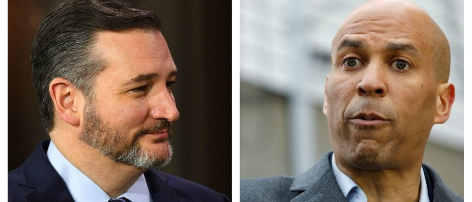 Side-by-side of GOP Sen. Ted Cruz of Texas and Democrat Sen. Cory Booker of New Jersey. LEFT: Jack Gruber-USA TODAY RIGHT: REUTERS/Andrew Kelly
