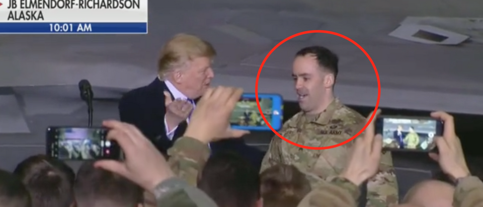 President Trump greets Bronze Star recipient SGT Sean Rogers at JBER. Screen shot/Fox News