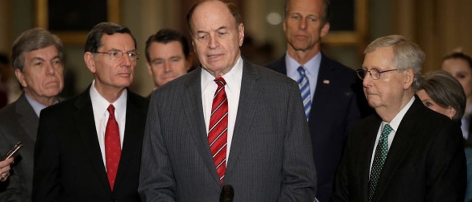 Shelby joined Republican leaders after their party luncheon while speaking to the media about the deal that U.S. President Donald Trump said left him 'unhappy'. From left to right are Sen. Roy Blunt (R-MO), Sen. John Barrasso (R-WY), Sen. Todd Young (R-IN), Shelby, Sen. John Thune (R-SD) and Senate Majority Leader Mitch McConnell (R-KY). (Photo by Win McNamee/Getty Images)