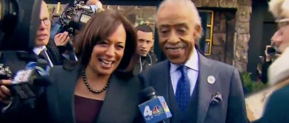 Sen. Kamala Harris and Al Sharpton leave a meeting in Harlem. Screen Shot/Twitter/@thehill