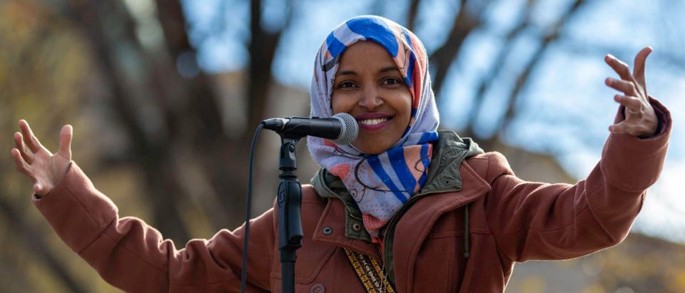 Democratic congressional candidate Ilhan Omar speaks to a group of supporters at University of Minnesota in Minneapolis, Minnesota, on November 2, 2018. (KEREM YUCEL/AFP/Getty Images)