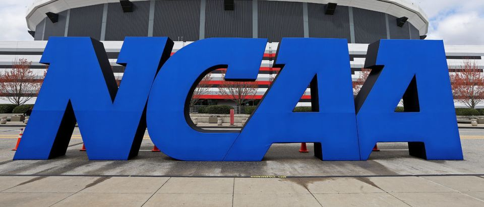 A detail of giant NCAA logo is seen outside of the stadium on the practice day prior to the NCAA Men's Final Four at the Georgia Dome on April 5, 2013 in Atlanta, Georgia. (Photo by Streeter Lecka/Getty Images)
