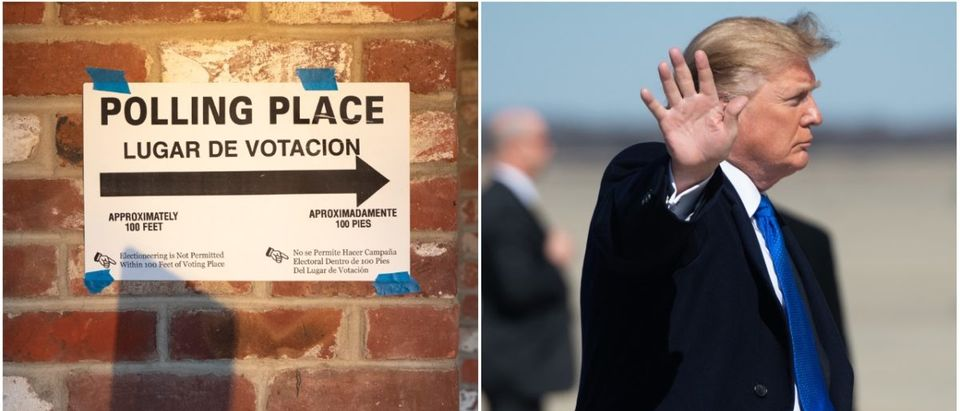 Left: Midterm Polling Place, Right: Donald Trump (Getty Images)