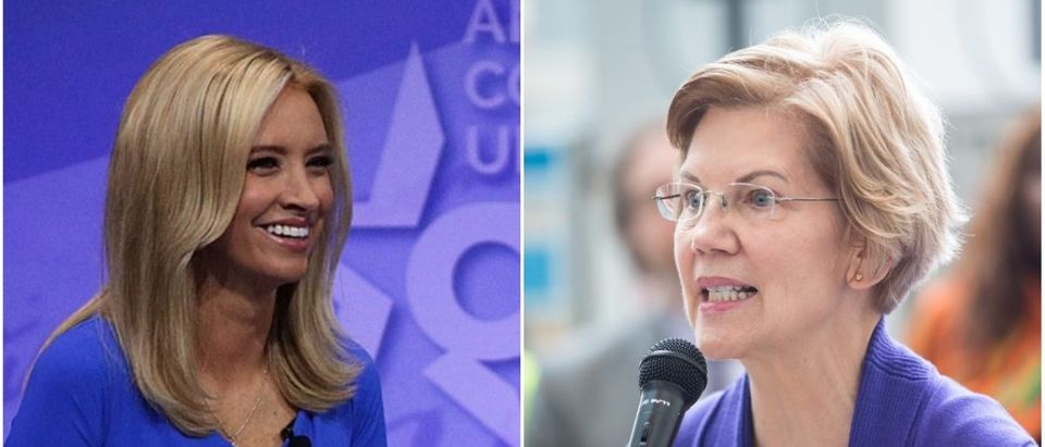 Left: GOP Spokeswoman Kayleigh McEnany (Getty Images), Right: Sen. Elizabeth Warren (Getty Images)