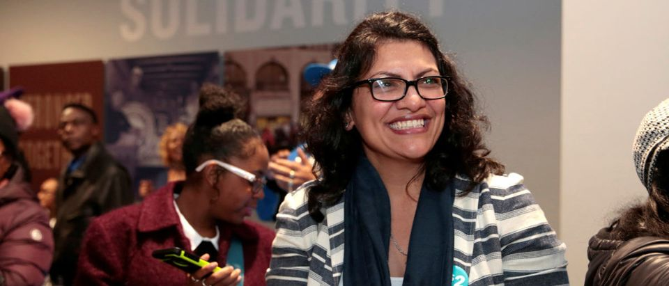 Democratic U.S. congressional candidate Rashida Tlaib attends a midterm campaign rally at a union hall in Detroit, Michigan, U.S. November 4, 2018. REUTERS/Rebecca Cook