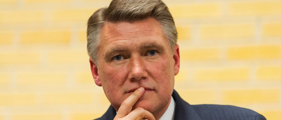 Mark Harris waits to be introduced during a volunteer meeting and rally at the Ardmore Auditorium in Winston-Salem, North Carolina, April 8, 2014. REUTERS/Chris Keane/File Photo