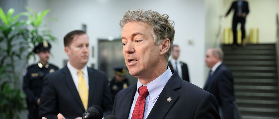 U.S. Senator Paul speaks to reporters outside of attending a closed-door briefing, on the Khashoggi death, by CIA Director Haspel at the U.S. Capitol in Washington