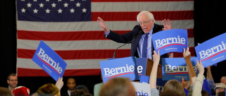 FILE PHOTO: Democratic 2020 U.S. presidential candidate Sanders speaks in Concord