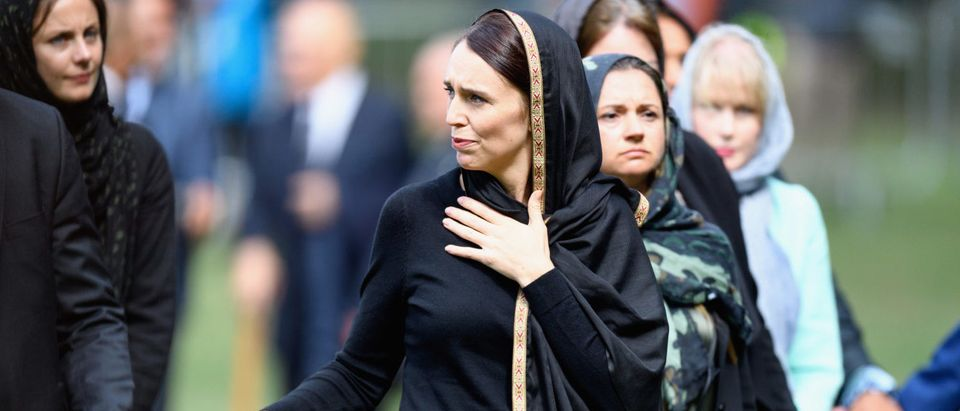 CHRISTCHURCH, NEW ZEALAND - MARCH 22: New Zealand Prime Minister Jacinda Ardern greets members of the public after attending islamic prayers in Hagley Park near Al Noor mosque on March 22, 2019 in Christchurch, New Zealand. (Photo by Kai Schwoerer/Getty Images)