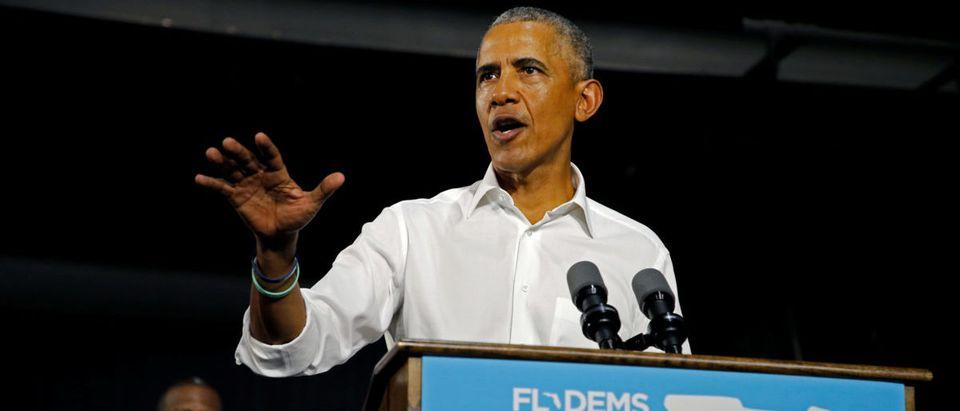 Former U.S. President Barack Obama campaigns for Democrats, U.S. Senator Bill Nelson and Gubernatorial candidate Andrew Gillum in Miami, Florida, U.S. November 2, 2018. REUTERS/Joe Skipper