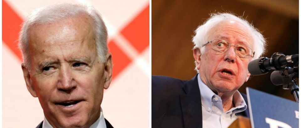 Sanders speaks during a campaign rally in Iowa and Biden talks to Google. (REUTERS/Scott Morgan)