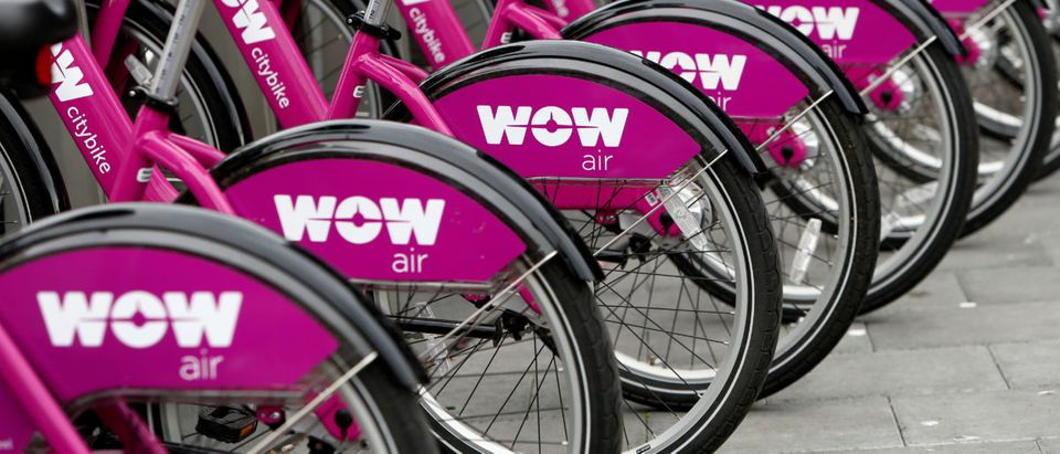Bikes by a bike rental service of Icelandic airline WOW Air are seen in Reykjavik, Iceland, Aug. 5, 2017. REUTERS/Michaela Rehle