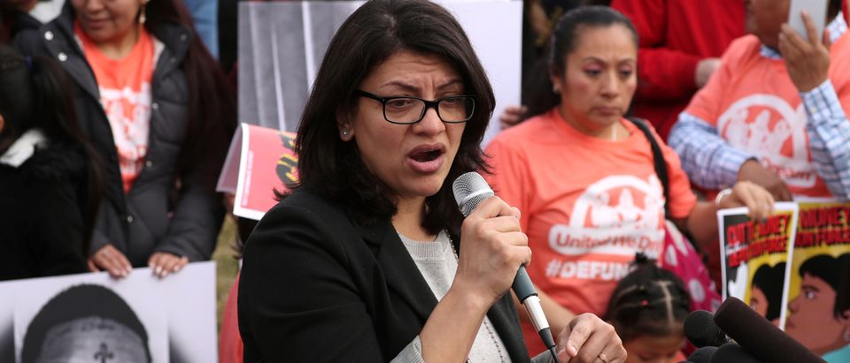 U.S. Representative Rashida Tlaib participates in a news conference to call on Congress to cut funding for ICE (Immigration and Customs Enforcement), at the U.S. Capitol in Washington