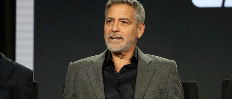 """Actor, executive producer, and director George Clooney speaks on a panel for the Hulu series """"Catch-22"""", during the Television Critics Association (TCA) Winter Press Tour in Pasadena"""