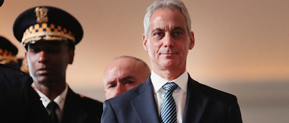 Chicago Mayor Rahm Emanuel attends a police graduation and promotion ceremony at Navy Pier on November 19, 2018 in Chicago, Illinois