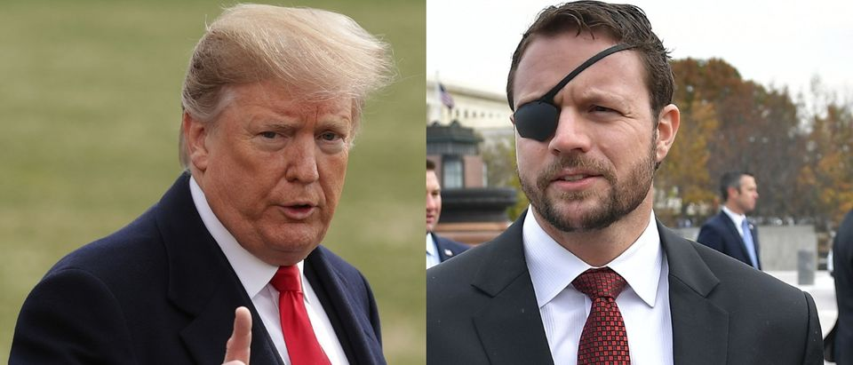 Rep. Dan Crenshaw (R) criticized U.S. President Donald Trump (L) Feb. 21, 2019. Chip Somodevilla/Getty Images and MANDEL NGAN/AFP/Getty Images