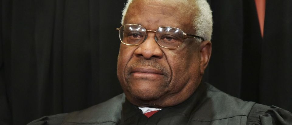 Justice Clarence Thomas poses for the official group photo at the Supreme Court in Washington, DC on November 30, 2018. (Mandel Ngan/AFP/Getty Images)