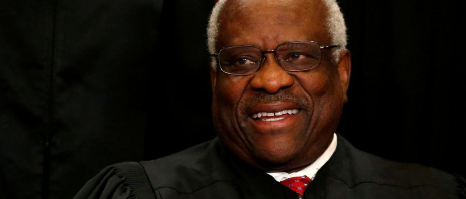 Justice Clarence Thomas sits for a new photo with his fellow justices at the Supreme Court on June 1, 2017. REUTERS/Jonathan Ernst