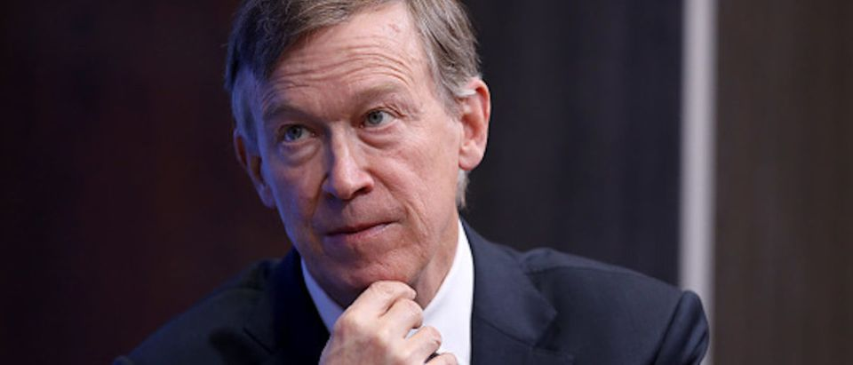 WASHINGTON, DC - OCTOBER 10: Colorado Gov. John Hickenlooper participates in a discussion as part of the Brookings Institution's Middle Class Initiative October 10, 2018 in Washington, DC. Hickenlooper, a Democrat, and Ohio Gov. John Kasich, a Republican, participated in the discussion and found common ground on issues related to the economy, trade, education and other areas. Both governors are seen as potential 2020 presidential candidates. (Photo by Chip Somodevilla/Getty Images)