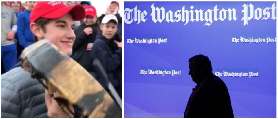 Covington Catholic student Nick Sandmann and The Washington Post (LEFT: YouTube, Washington Post RIGHT: Chip Somodevilla/Getty Images)