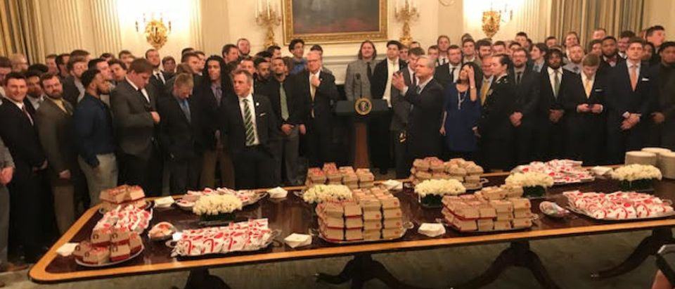 President Trump Serves Fast Food To NDSU Football Team (Photo by Hans Nichols)