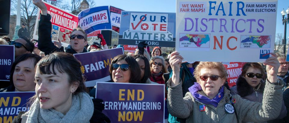 "Protesters attends a rally for ""Fair Maps"" on March 26, 2019 in Washington, DC. The rally was part of the Supreme Court hearings in landmark redistricting cases out of North Carolina and Maryland (Tasos Katopodis/Getty Images)"