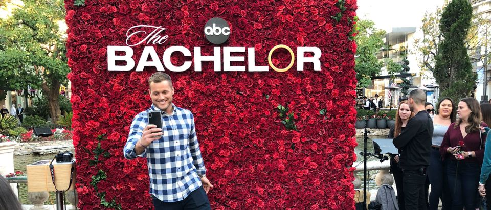 US TV reality celebrity Colton Underwood promotes the new season of 'The Bachelor' at the Grove shopping center in Los Angeles on January 4, 2019. (Photo by Daniel SLIM / AFP) (Photo credit should read DANIEL SLIM/AFP/Getty Images)