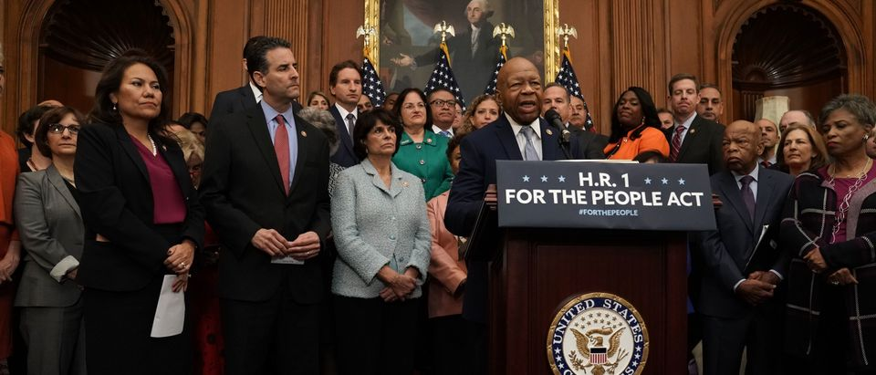 """U.S. Rep. Elijah Cummings (D-MD) speaks during a news conference at the U.S. Capitol January 4, 2019 in Washington, DC. U.S. Speaker of the House Rep. Nancy Pelosi (D-CA) held a news conference to introduce H.R.1, the """"For the People Act,"""" a reform package """"to restore the promise of our nation's democracy, end the culture of corruption in Washington, and reduce the role of money in politics to return the power back to the American people."""" (Photo by Alex Wong/Getty Images)"""