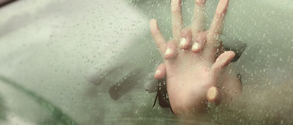 Couple holding hands having sex inside a car with a steamy window - shutterstock