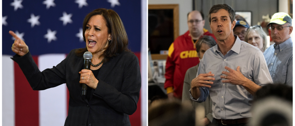 "Democratic presidential candidates Kamala Harris and Robert ""Beto"" O'Rourke on the campaign trail in March 2018. (Getty Images)"