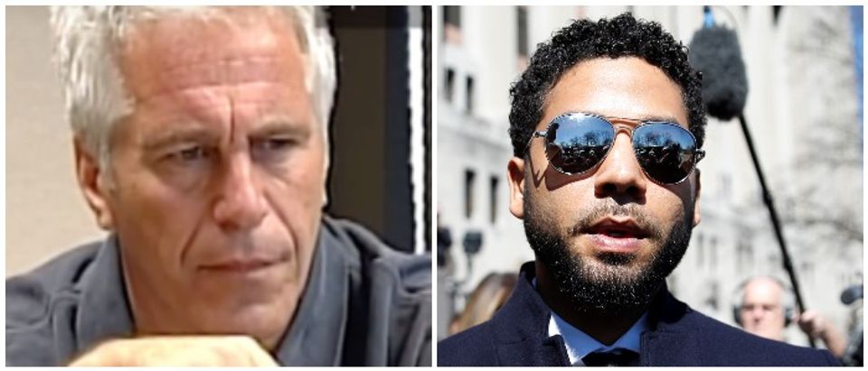 Jeffrey Epstein and Jussie Smollett (LEFT: Jeffrey Epstein gives a deposition in 2009. YouTube/Miami Herald RIGHT: REUTERS/Kamil Krzaczynski)