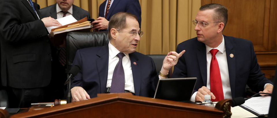 House Judiciary Committee Chairman Jerrold Nadler (D-NY) and ranking member Rep. Doug Collins (R-GA) talk before a hearing on gun violence legislation on February 06, 2019. (Chip Somodevilla/Getty Images)