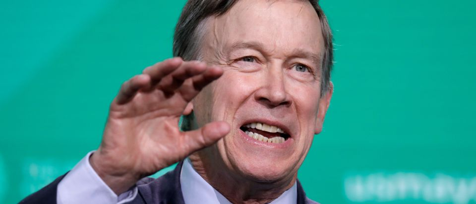 Former Gov. John Hickenlooper (D-CO) speaks at the United States Conference of Mayors winter meeting in Washington, U.S., January 24, 2019. REUTERS/Yuri Gripas.