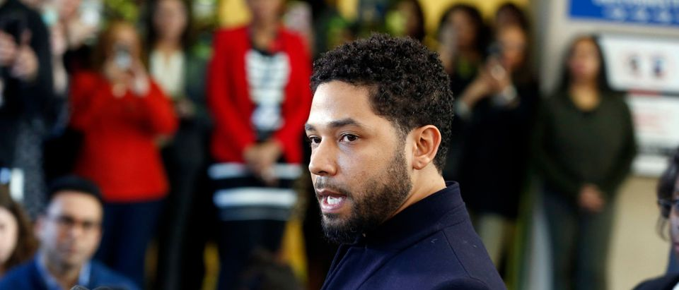 Actor Jussie Smollett speaks with members of the media after his court appearance at Leighton Courthouse on March 26, 2019 in Chicago. (Photo by Nuccio DiNuzzo/Getty Images)