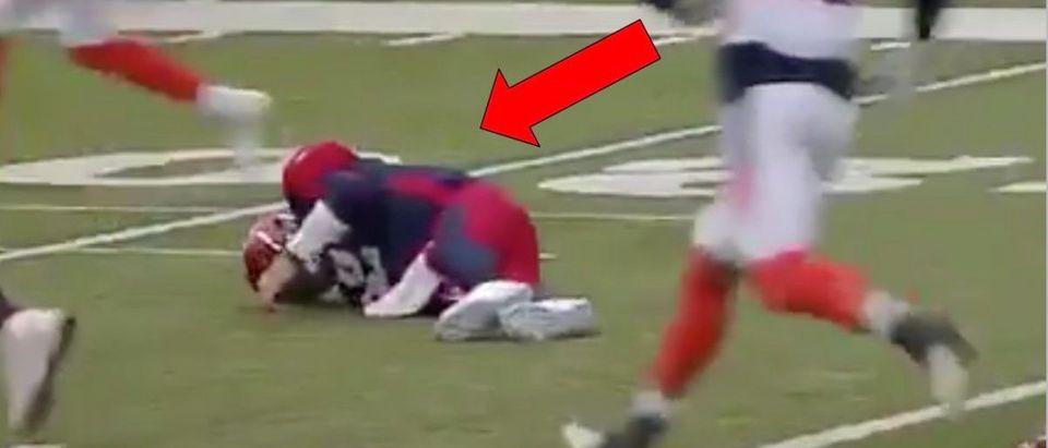 Johnny Manziel Injury (Credit: Screenshot/Twitter Video https://twitter.com/AAF_Reddit/status/1112062116670914560?ref_src=twsrc%5Etfw)