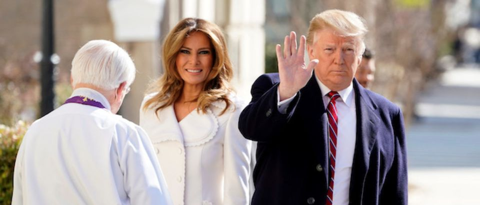 U.S. President Donald Trump and U.S. first lady Melania Trump are greeted by Interim Rector Reverend Bruce McPherson as they arrive at St. John's Episcopal Church in Washington, U.S., March 17, 2019. REUTERS/Joshua Roberts