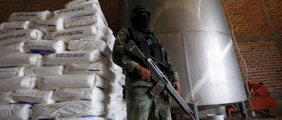 A soldier stands guard at a clandestine drug processing laboratory discovered in Zapotlanejo