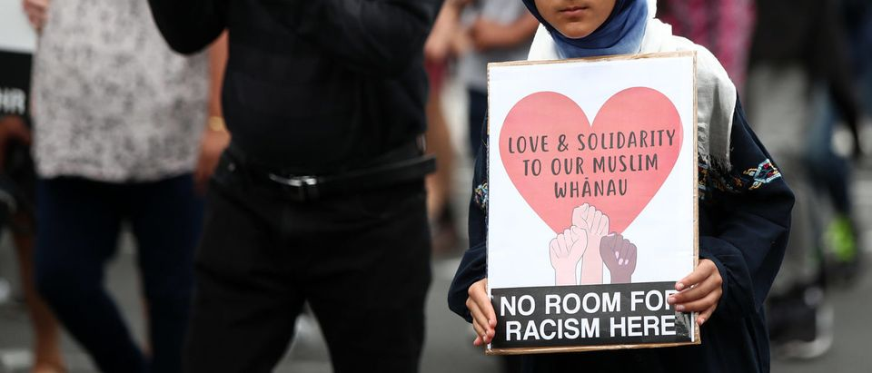 AUCKLAND, NEW ZEALAND - MARCH 24: Thousands march up Wellesley St to rally against racism on March 24, 2019 in Auckland, New Zealand. (Photo by Fiona Goodall/Getty Images)
