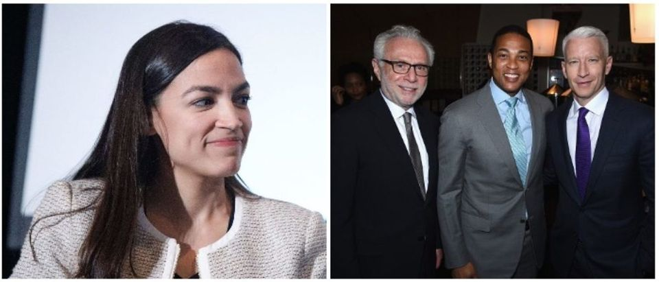 Ocasio Cortez and CNN's Wolf Blitzer, Don Lemon, and Anderson Cooper (Left: Lars Niki/Getty Images for The Athena Film Festival RIGHT: Dimitrios Kambouris/Getty Images for Turner)
