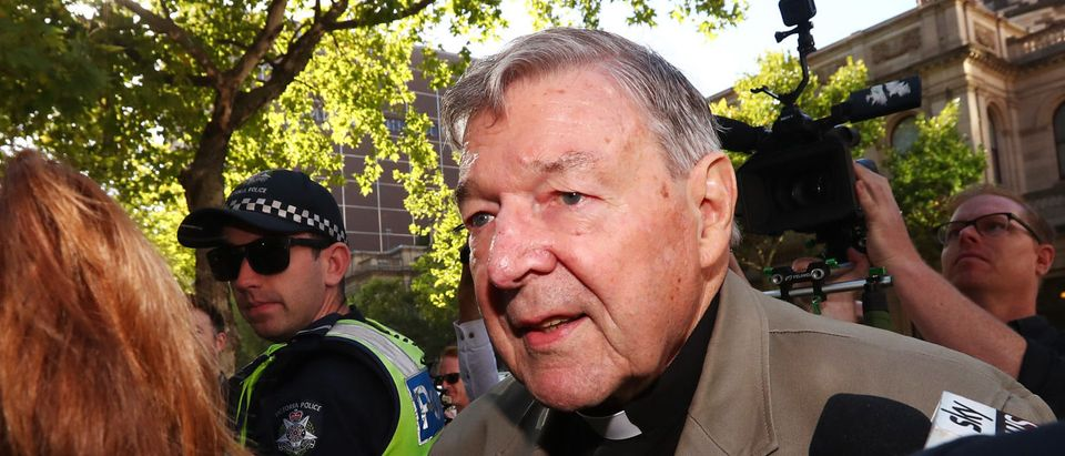 Cardinal George Pell arrives at Melbourne County Court on Feb. 27, 2019 in Melbourne, Australia. (Photo by Michael Dodge/Getty Images)