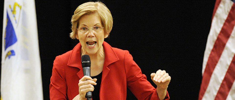 US Senator Elizabeth Warren (D-MA) addresses a town hall meeting in Roxbury, Massachusetts, October 13, 2018. (Photo by Joseph PREZIOSO / AFP) (Photo credit should read JOSEPH PREZIOSO/AFP/Getty Images)
