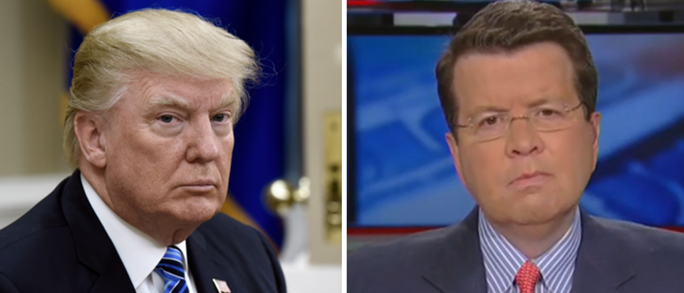 President Trump (right, Olivier Douliery, Getty) Neil Cavuto (left, Fox News screengrab)