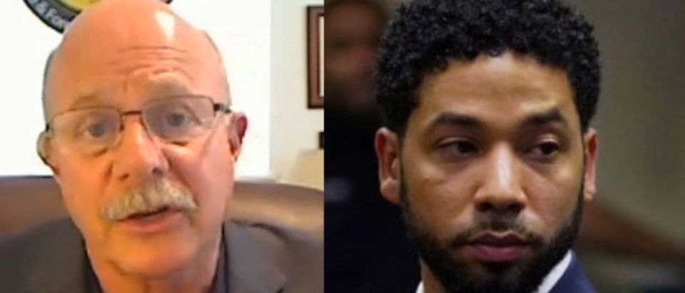 Left: Left: Retired police detective and forensic criminologist Dr. Ron Martinelli Right: Actor Jussie Smollett makes a court appearance at the Leighton Criminal Court Building in Chicago, Illinois, U.S., March 14, 2019. E. Jason Wambsgans/Pool via REUTERS/File Photo