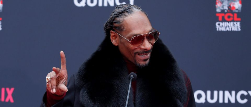 Snoop Dogg speaks at a ceremony for composer Quincy Jones