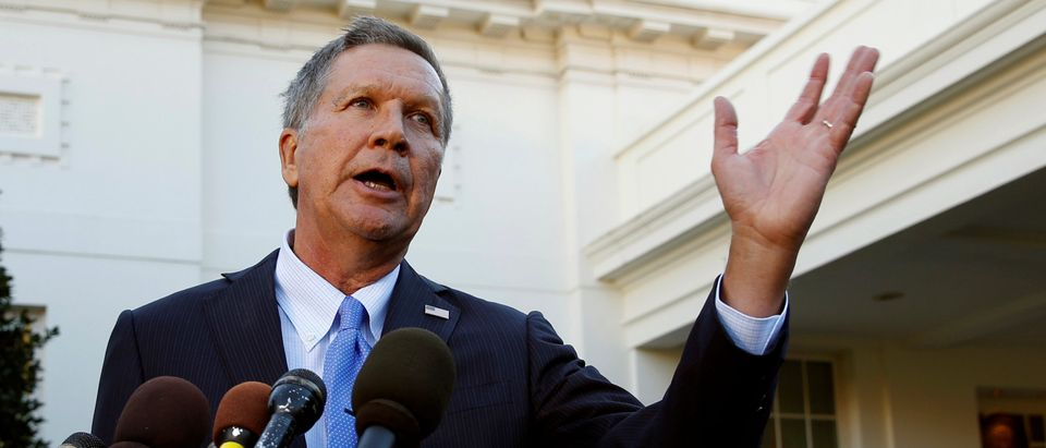 Former candidate Governor John Kasich speaks at the White House in Washington