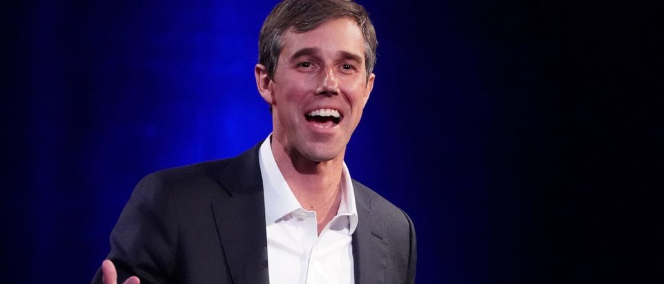 O'Rourke speaks to Winfrey on stage during a taping of her TV show in Manhattan