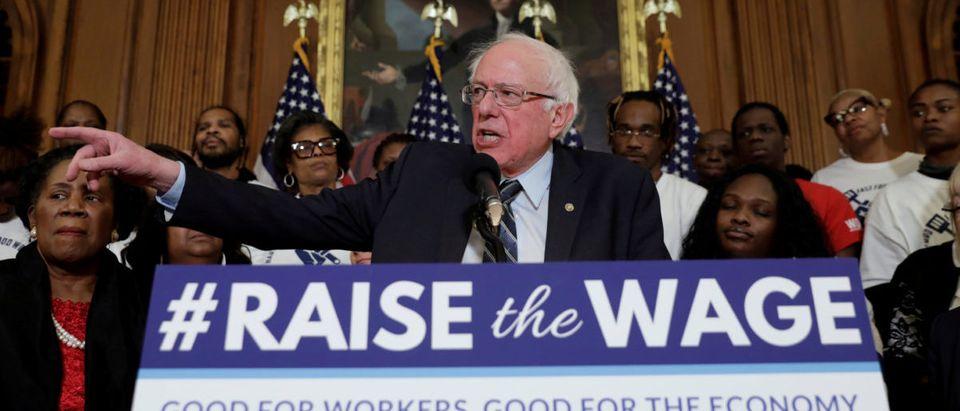 "U.S. Senator Bernie Sanders speaks during a news conference on ""Raise the Wage Act"" legislation on Capitol in Washington, U.S., January 16, 2019. REUTERS/Yuri Gripas"
