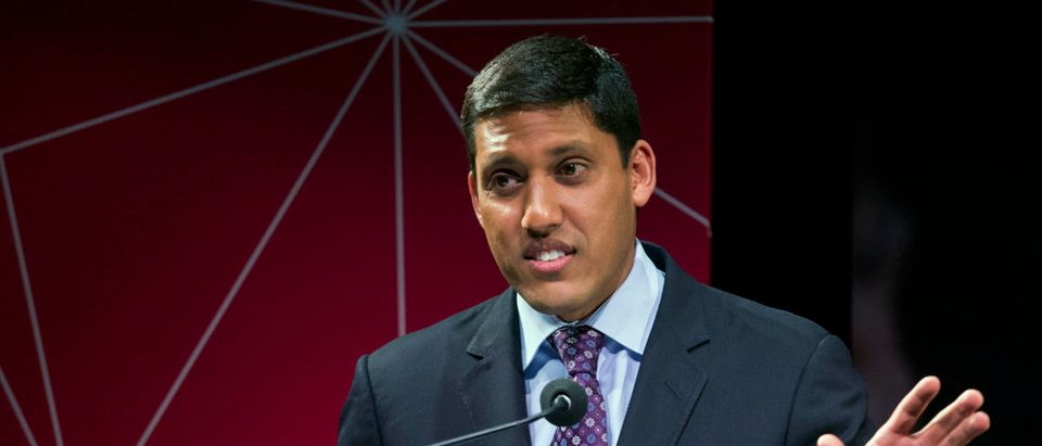 Rockefeller Foundation President Rajiv Shah, then the U.S. Agency for International Development (USAID) Administrator, gestures during the announcement of the U.S. Global Development Lab to help end extreme poverty by 2030, in New York April 3, 2014. REUTERS/Lucas Jackson