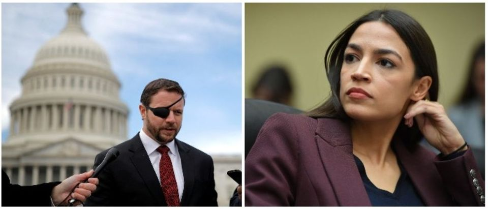 Rep. Dan Crenshaw and Rep. Ocasio-Cortez (LEFT: REUTERS/Carlos Barria RIGHT: MANDEL NGAN/AFP/Getty Images)