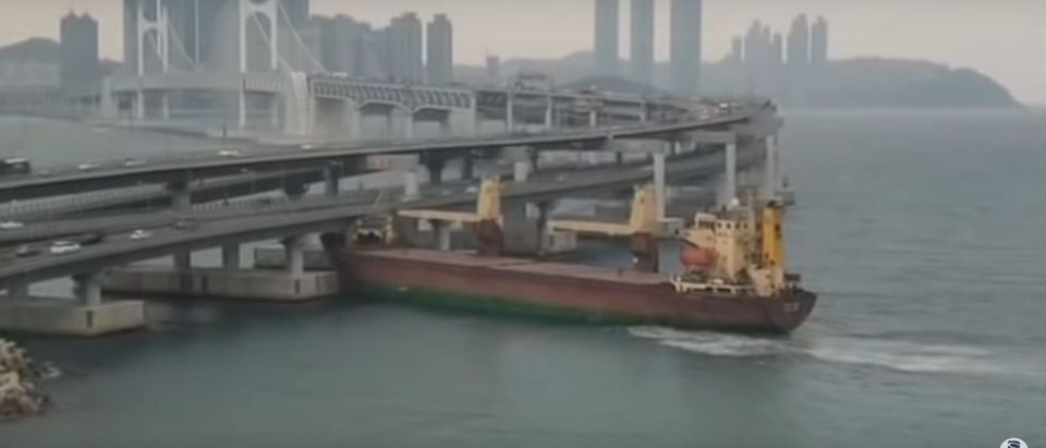 A Russian cargo ship plows into a South Korean bridge (YouTube screenshot/부산일보TheBusanilbo)